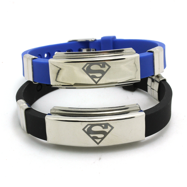 Fast Shipping Wholesale Fashion jewelry Silicone Rubber Silver Superman Bracelet Stainless Steel USA Hero(China (Mainland))