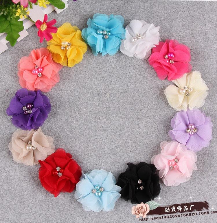 2015 New 13 Colors Chiffon Flowers With Pearl Rhinestone For Girls Headband Hairclips Dress Decoration Baby Hair Flowers(China (Mainland))
