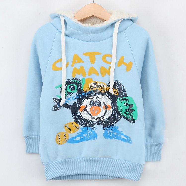 2015 autumn cartoon clown male child girls clothing with a hood fleece sweatshirt A1217(China (Mainland))