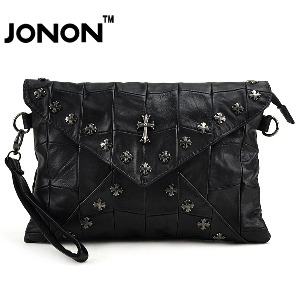 JONON Women Wristlets Molle Genuine Leather Handbags Crossbody shoulder Bags Stitching Patchwork Cross Rivets Bolsa MHB101(China (Mainland))