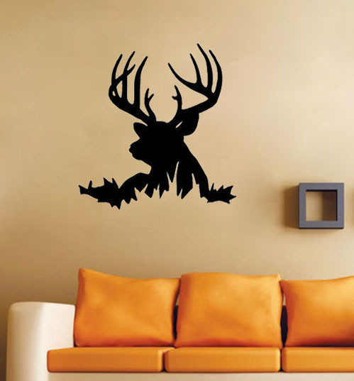 Deer head silhouette buck hunting wall decals vinyl stickers home decor living room decorative Home decor survivor 6