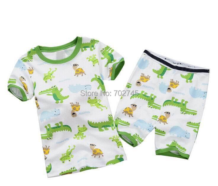 Baby Pajamas 8172 Print Animals White Children Clothes Short Sleeve T-shirts+Shorts 2 Pcs Set Pajamas(China (Mainland))