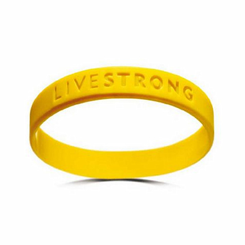 50pcs Motivational Bracelets LIVE STRONG Concave Text Wristband Adults Teenagers Yellow Eco-friendly Silicone Gift Free Shipping(China (Mainland))
