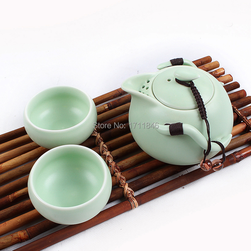 3color white black green kung fu portable tea set ceramic Green tea pot set