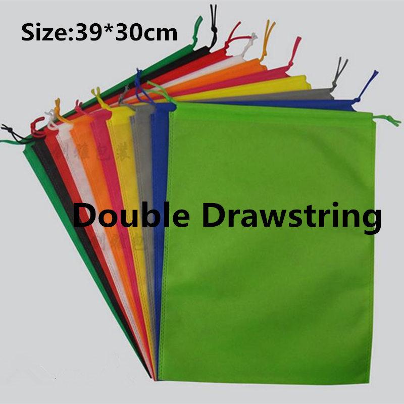 39*30cm 20 pcs/lot 10 color shoe dust bags non-woven black drawstring bags travel clothing storage bag shoe packing bags(China (Mainland))