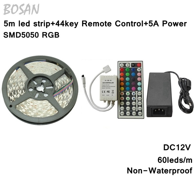 5050 RGB Led Strip NO Waterproof 5M SMD 5050 300leds + 44 keys IR Remote Controller + 12V 5A Power Adapter
