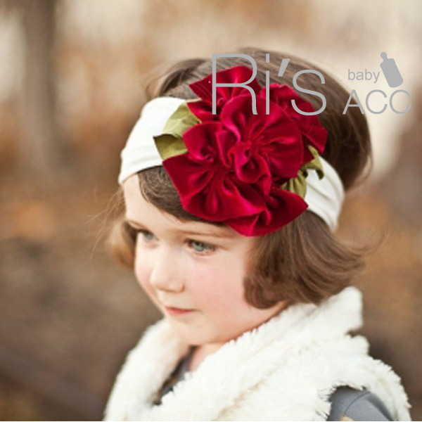 Retail soft white baby girl headbands paired with a cluster of chic red hand sewn roses flower
