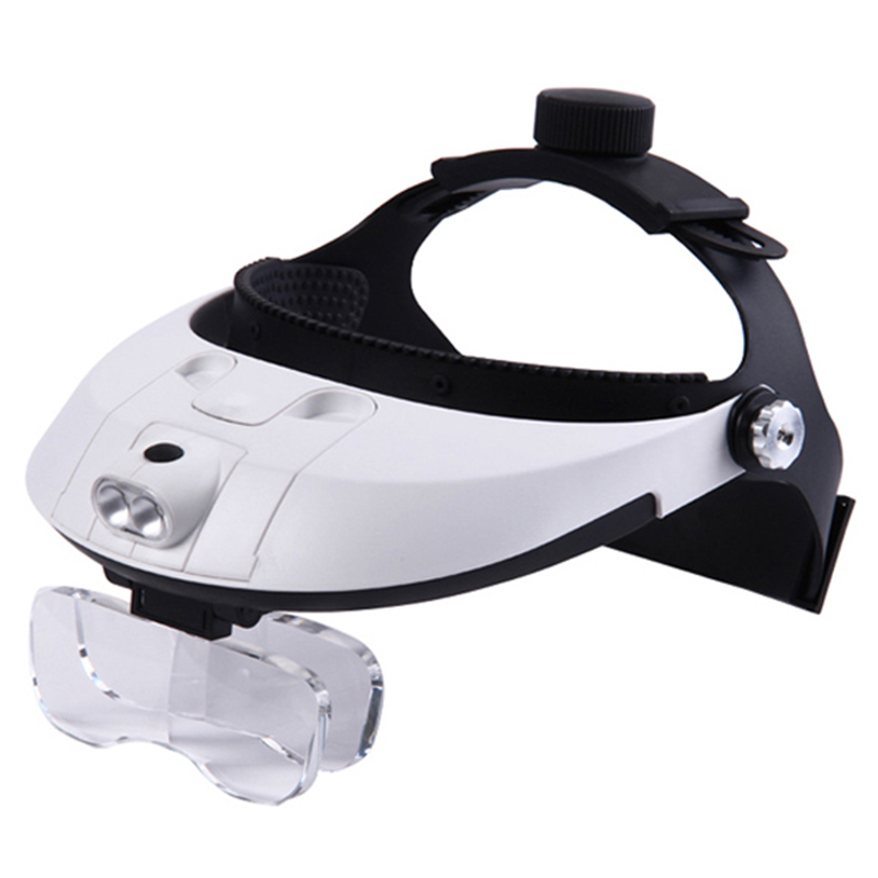 11 Magnifications Headband Magnifier Glasses 2 LED Illuminated Magnifier Single/Bi-plate Loupe Antique Copper coins Magnifying