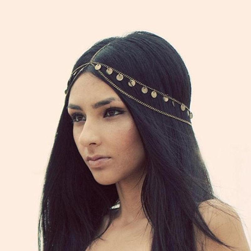 Fashion Multi Layer Metal Gold Hollow Plated Head Chain Hair Jewelry Tassel Water Drop hair accesories Boho Headband SWXFS116(China (Mainland))