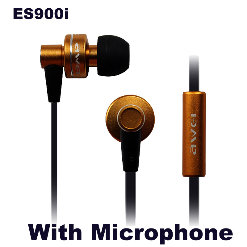 New Brand Awei ES900i Super Bass Earphone Headphones With Mic For IPhone/Samsung/MP3 In-Ear Micphone Earphones Metal Flat Cable