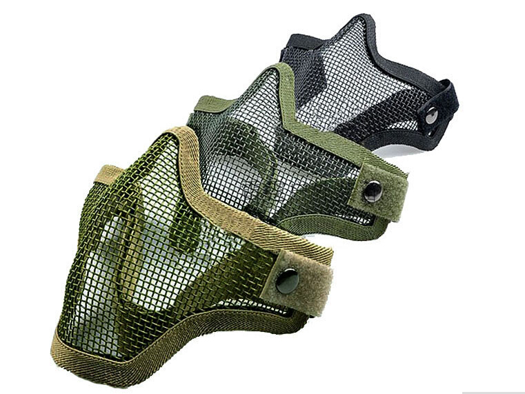 2015 Half Lower Face Metal Steel Net Mesh Hunting Tactical Protective Airsoft Mask elevation training mask(China (Mainland))
