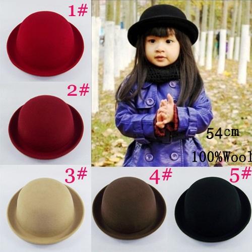 Retail Little girls fedora hat Dome cap Children dress hats Kids caps felt hats wool felting Bowler hat BH176(China (Mainland))