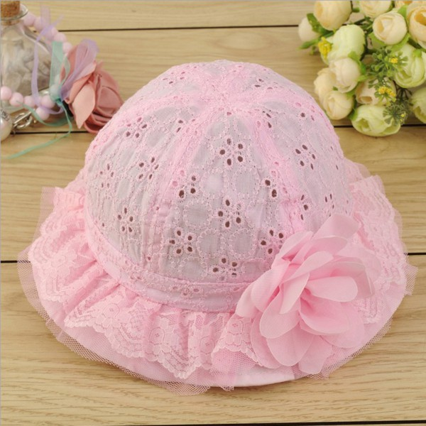 4 Color Baby Hollow Sun Cap Pure Color Lace Sunshade Summer Beach Bucket Flower Hat 2015 New<br><br>Aliexpress