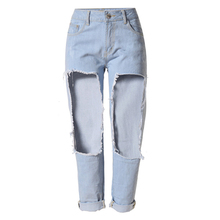 2016 European Style Women Clothing Straight Hole Jeans Casual Ankle-Length Jeans Denim Trousers Women Jeans Brand Designer S1546