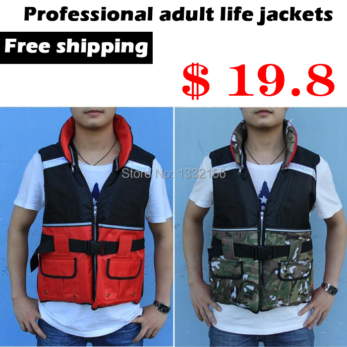 Professional Adult Life Vest Life Safety Fishing Clothes Life Jacket Water Sport Survival Suit Outdoor Swimwear Camouflage red(China (Mainland))