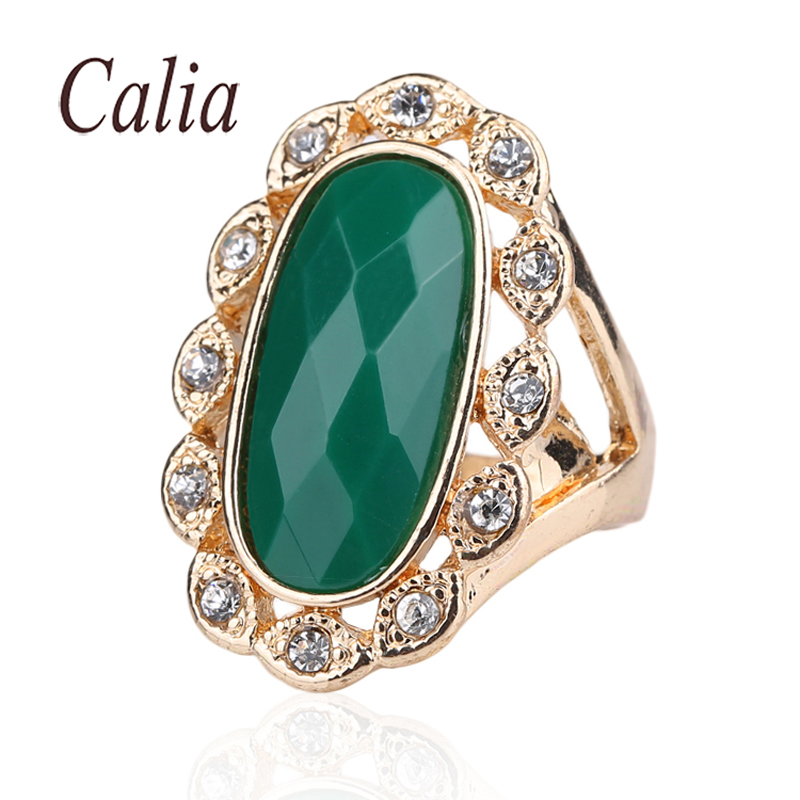 Popular Nobility Attractive Rose Gold Plated Rings Green Long Elliptic Turquoise 2016 Engagement Rings For Women Latest Design(China (Mainland))