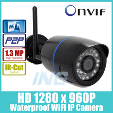 WIFI 1280 x 960P 1.3MP Bullet IP Camera Waterproof 24LED IR Night Vision Outdoor Security Camera ONVIF P2P CCTV Cam with IR-Cut(China (Mainland))
