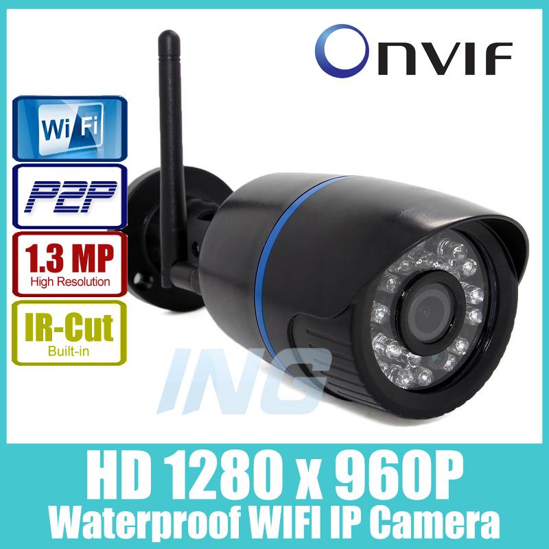 WIFI 1280 x 960P 1.3MP Bullet IP Camera Waterproof 24LED IR Night Vision Outdoor Security Camera ONVIF P2P CCTV Cam with IR-Cut(China (Mainland))