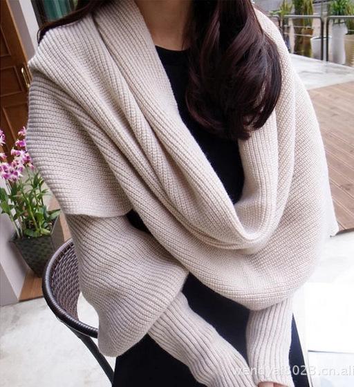 2016 новинка женщин теплый шерстяной шарф шаль с длинными рукавами многофункциональный платки бесплатная доставка