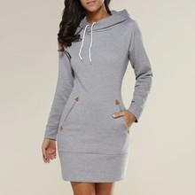 Vestidos 2017 Spring ZANZEA Women Oversized Casual Straight Solid Dress Ladies Long Sleeve Hooded Pockets Mini Dresses Plus Size(China)