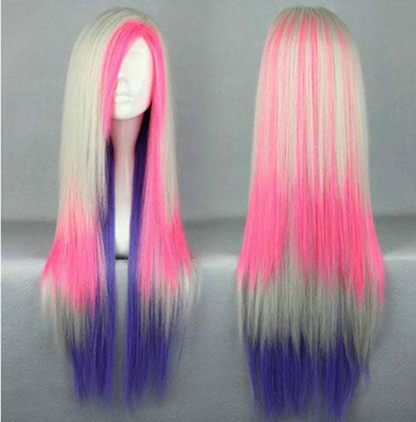 Afro Lady Lolita Wig Kinky Straight Long Hair Cosplay Anime White Pink Blue Mix Wig natural cabello peluca Wholesaler<br><br>Aliexpress