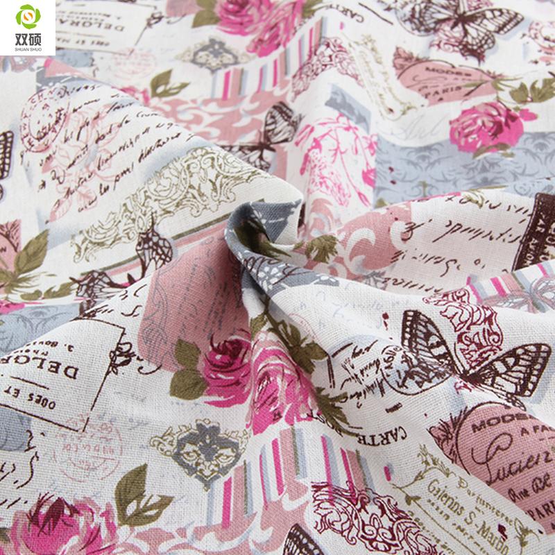 Special offer Retro Butterfly Rose Linen fabrics Tablecloths cloth cushion pillow linen fabric 145*50cm A1-1-M1(Hong Kong)