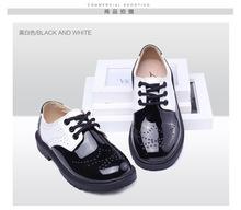 2015 Натуральная Кожа детская Обувь Студенты Спектакль Для Детей Обувь Мальчики Британский Стиль Пэчворк Черный Zapatos Нины TX07