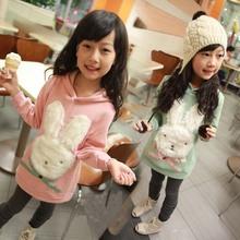 Free shipping fall new version girls autumn sweatshirt cartoon rabbit girl coat children's clothing(China (Mainland))