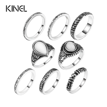 Buy 8 Pcs/Set Silver Color Flower Midi Ring Sets Women Boho Beach Vintage Turkish Punk Elephant Knuckle Ring for $2.52 in AliExpress store