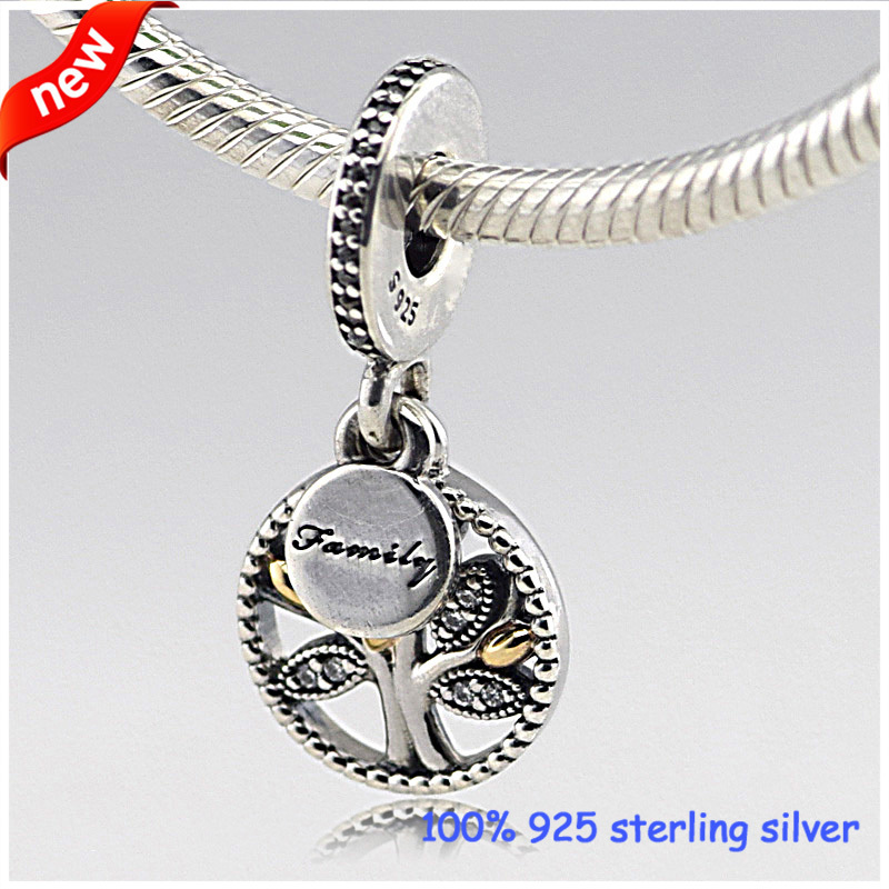 Fits Pandora Bracelets Family Tree Silver Charms with 14K Gold New 100% 925 Sterling Silver Beads DIY Jewelry Wholesale 263<br><br>Aliexpress