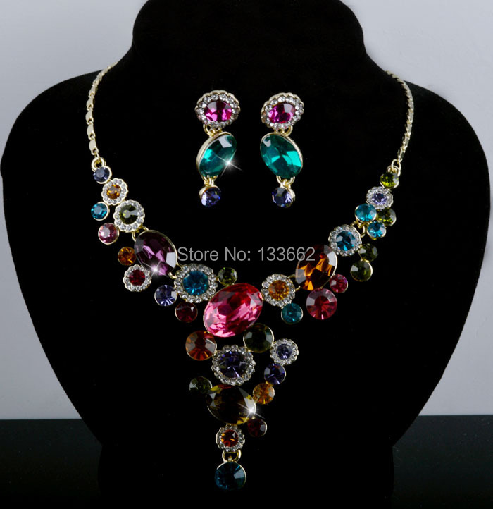 Bridal Necklace earrings set Muliti color czech stone crystal rhineston Jewelry set  for normal DAY party prom Free shipping<br><br>Aliexpress