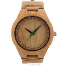 Bobobird BWM019 мужская прохладный дизайнер зеленый часовая стрелки бамбука деревянные часы настоящее кожа группы часы для мужчин