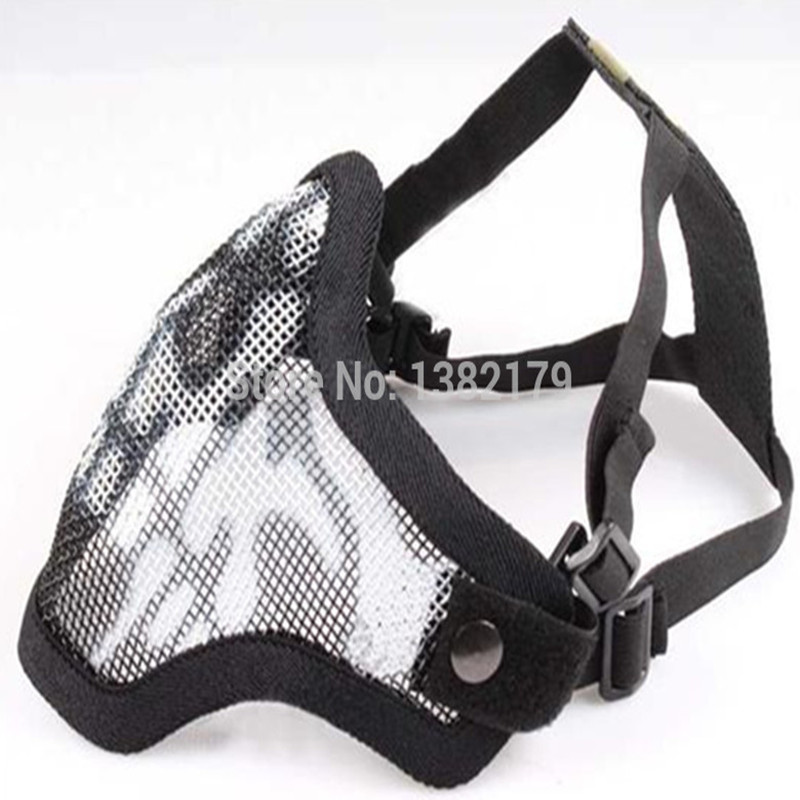 Tactical Hunting Mask Metal Steel Wire Half Face Mesh Airsoft Black Color skeleton style 4 color Available - Paintball & Airsof Equipment store