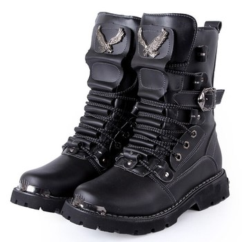 Discount Male Genuine Leather Black Brown High Top Mens Outdoor Steel Toe Combat Military Ankle Boots Free Shipping