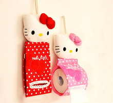 2pcs/lot tissue cover plush hello kitty paper holder hanging tissue container red/pink free shipping(China (Mainland))