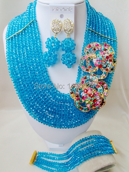 Luxury Turquoise blue Crystal Necklaces Bracelet Earrings African Nigerian Wedding Beads Jewelry Set  A-7903<br><br>Aliexpress