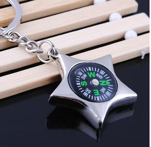 Fashion compass Keychain Titanium Plated metal key chain Two buckle key chains The best gift choice M1008(China (Mainland))