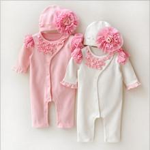 Recém Estilo Princesa Menina Roupa Dos Miúdos Meninas Vestido de Aniversário Do Bebê Recém-nascido Rendas Macacão + Chapéus Conjuntos de Roupas de Bebê Macacão Infantil