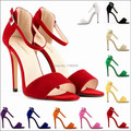 2016 new fashion gladiator high heels sandals sexy pointed toe strappy women flock summer pump sapatos