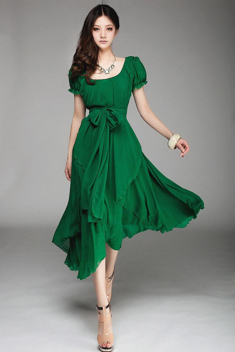 2015 Slim lady long fashion chiffon dress big size woman
