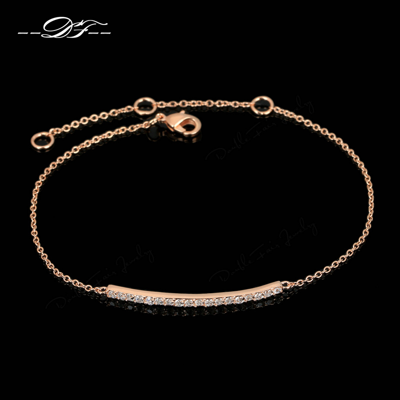 OL Style Unique CZ Diamond Micro Pave Fashion Bracelets & Bangles 18K Rose Gold Plated Crystal Jewelry For Women pulseras DFH126(China (Mainland))