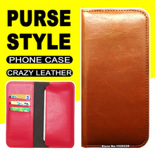 Commercial Wallet Style flip case for Innos D6000 phone case cover leather Crazy Horse Purse Pouch Innos D 6000 case cover