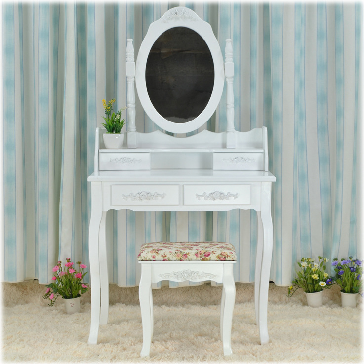 Queen Anne White Make Up Table Dresser Vanity Set Swivel Oval Mirror with Stool Bedroom Furniture(China (Mainland))