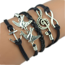 kj339  New Cute Infinity Owl Heart Pearl Friendship Charm Multilayer Charm Leather Bracelets for women (China (Mainland))