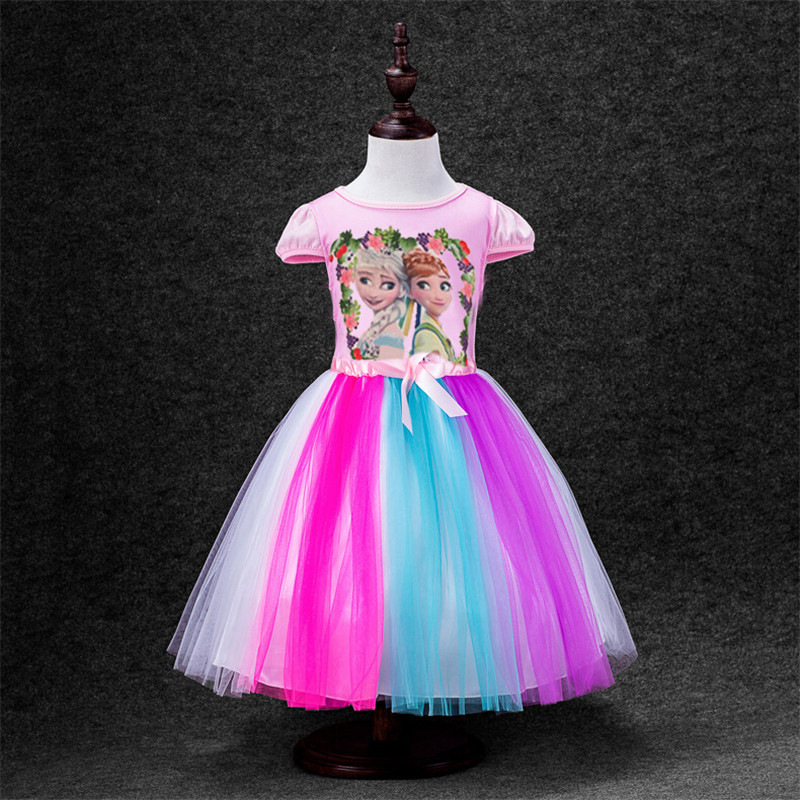2015 new kids party dress flower grils wedding party dress snow queen