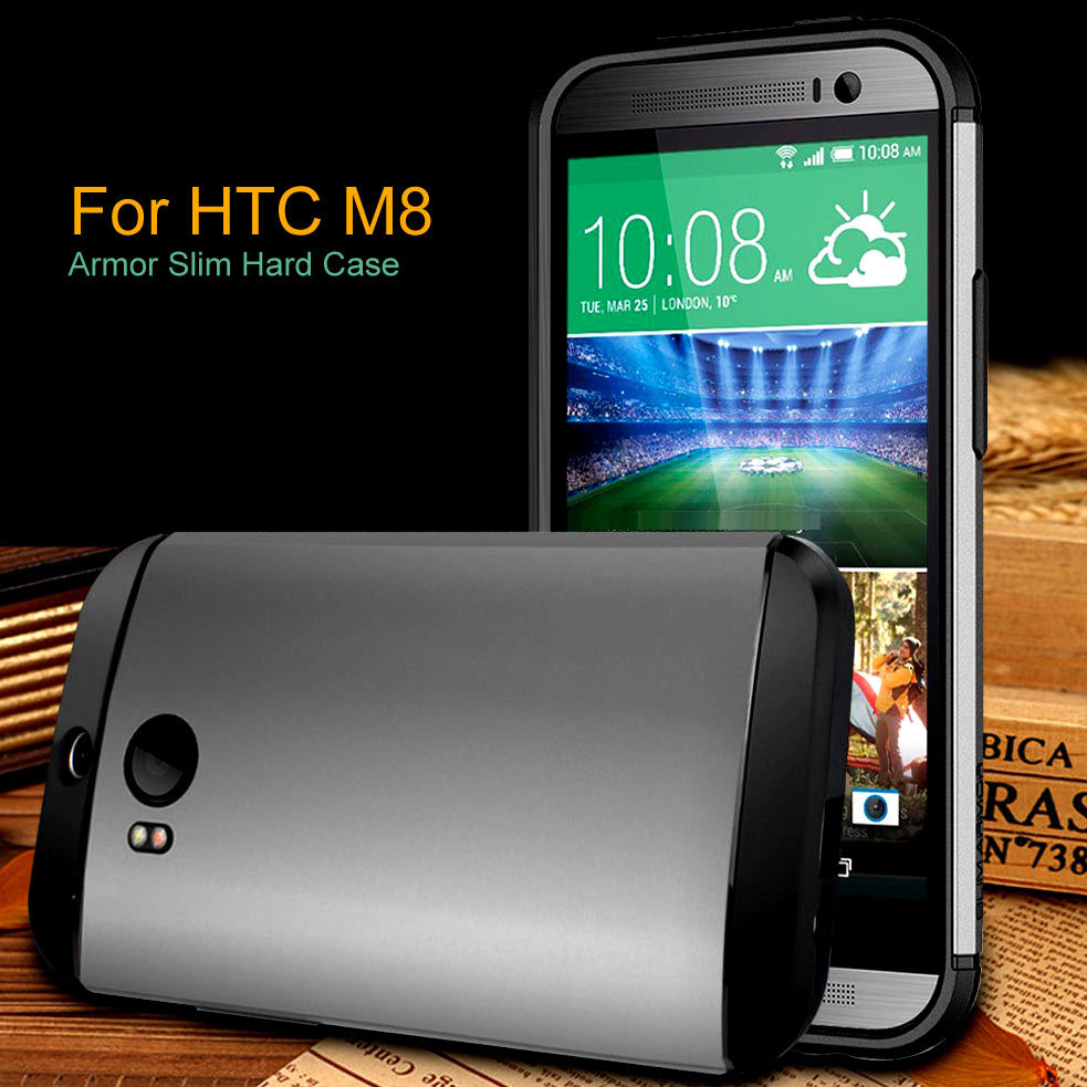 Phone Case for HTC one M8 New arrive High Quality Armor Slim Shockproof Most Silicone Hard Case Cover for HTC One M8(China (Mainland))