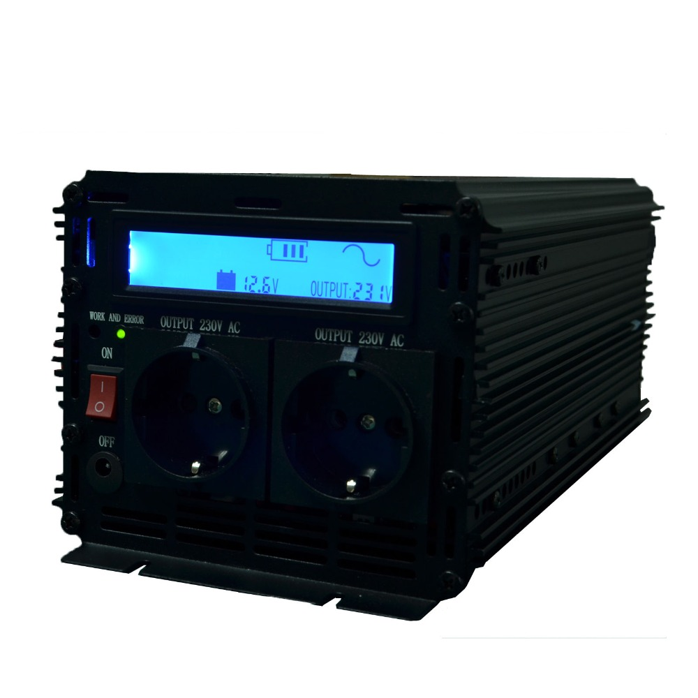 High efficient LCD display inverter pure sine wave power inverter 12v to 220v 230v 2500w (5000wPeak) with remote controller(Hong Kong)