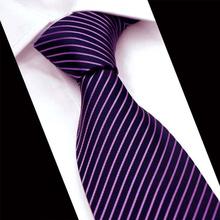 Fashion Formal Purple Ties for Men's Suits Business Wide Polyester Stripe Neck Tie Groom Wedding Gravatas Slim Casual Tie Cravat
