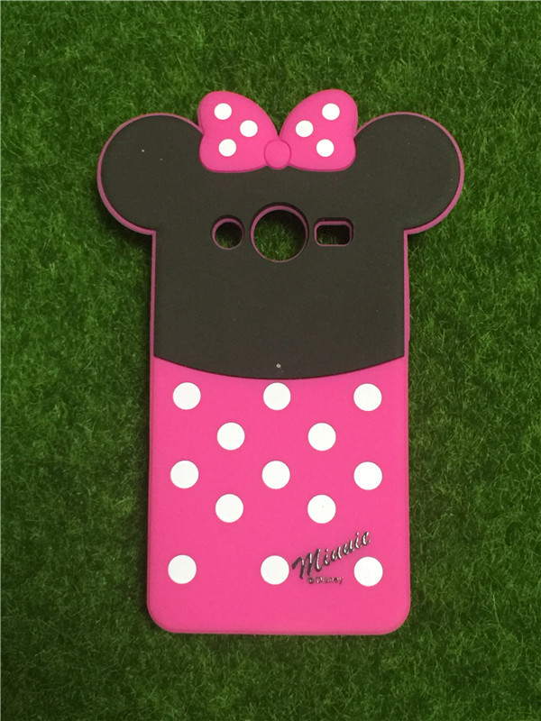 For Samsung Galaxy Core 2 G355H Covers 3D Cartoon Polka Dot Bow Minnie Soft Silicone Rubber Back Cover Phone Cases Free Shipping