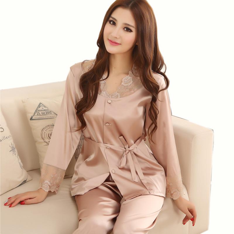 Lovers Sleepwear Silk Pajamas Set Spring Autumn Length Pants Leisure Lounge Set Women Men Champagne Pajamas M,L,XL,XXL,XXXL(China (Mainland))